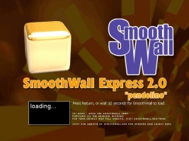 SmoothWall boot Screen - Just power it up, let it complete booting, then connect with your web browser, its that simple!